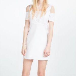 MWT ZARA WHITE TEXTURED WEAVE DRESS  - Size XS